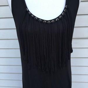 Christian Siriano black maxi fringe dress